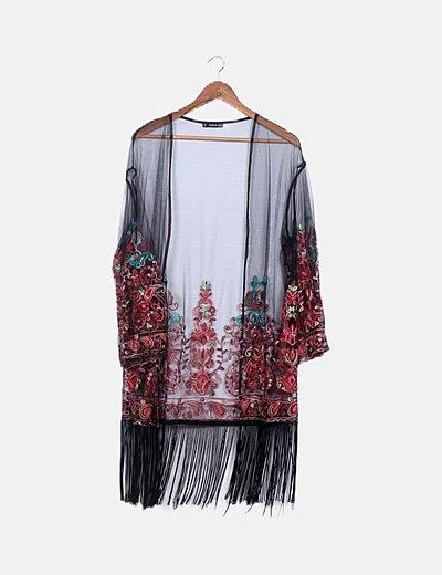 Kimono semitansparente flor bordada