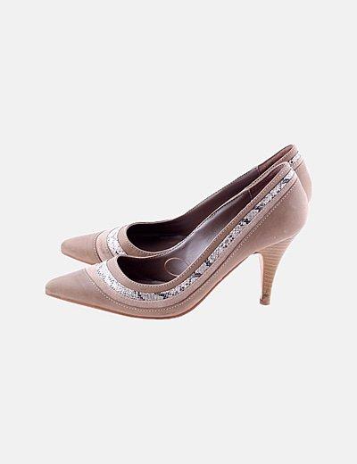 Zapatos salón camel animal print