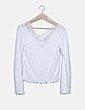 Camiseta blanca escote encaje Stradivarius