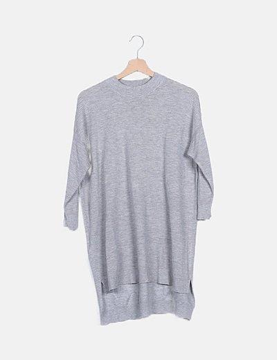 Vestido tricot gris canalé