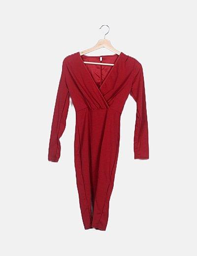 Vestido rojo texturizado manga larga