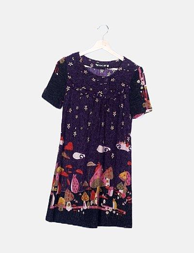 Vestido lila tricot estampado multicolor