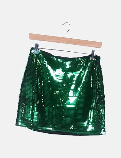 Falda verde paillettes