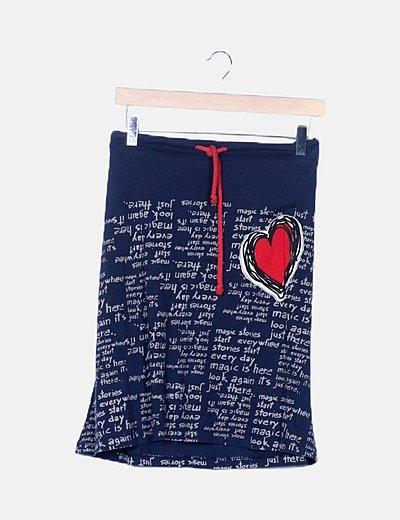 Falda azul índigo estampada