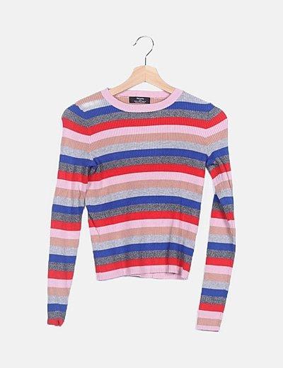 Jersey de rayas multicolor canalé