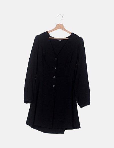 Vestido combinado negro fluido