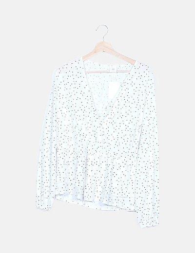 Blusa peplum blanca con topos
