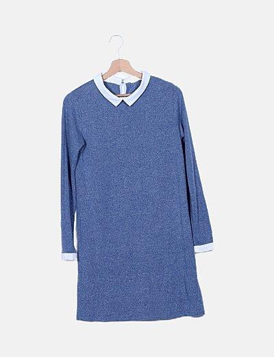 Vestido azul detalle cuello y mangas
