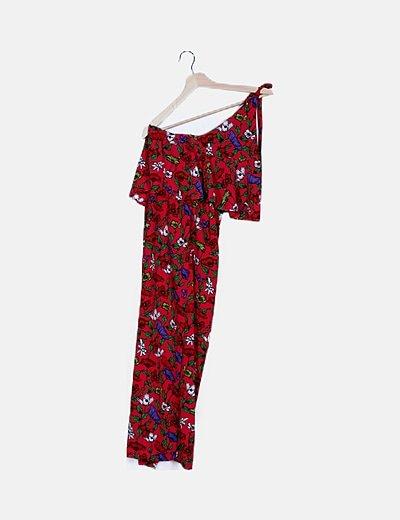 Vestido asimétrico fucsia print floral