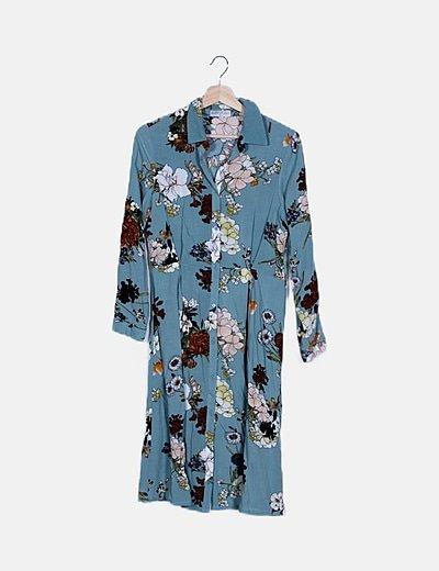 Vestido camisero azul print floral