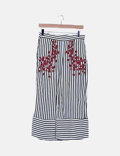 Pantalón culotte rayas con flores