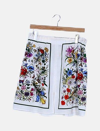 Falda mini blanca estampado floral