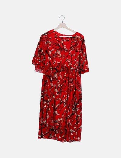 Vestido maxi rojo estampado floral