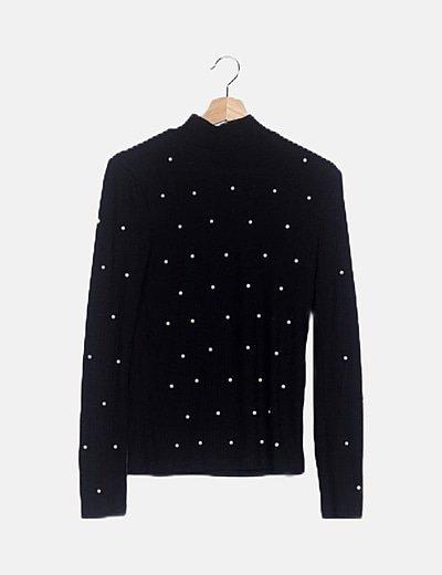Jersey negro detalle strass
