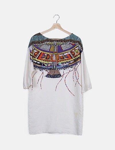 Vestido mini blanco detalle multicolor