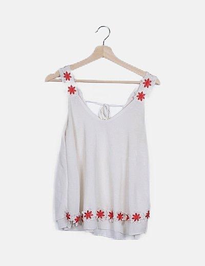 Blusa blanca tirantes florales