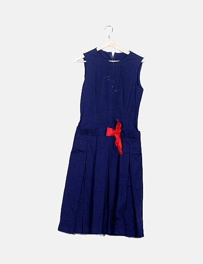 Vestido tablas azul marino detalle lazo