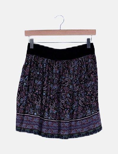 Falda multicolor estampado brocado