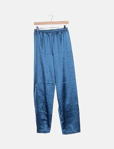Pantalón fluido azul satinado