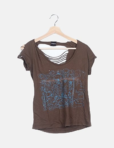 Camiseta bicolor detalle strass