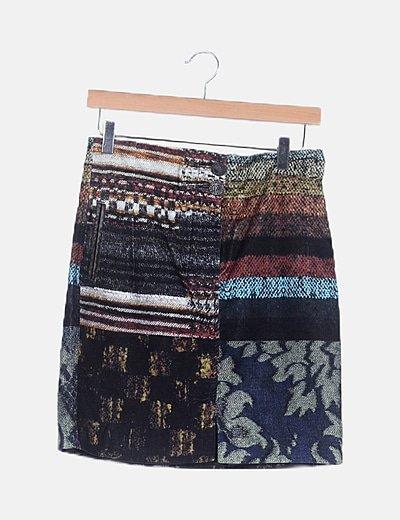 Falda combinada multicolor