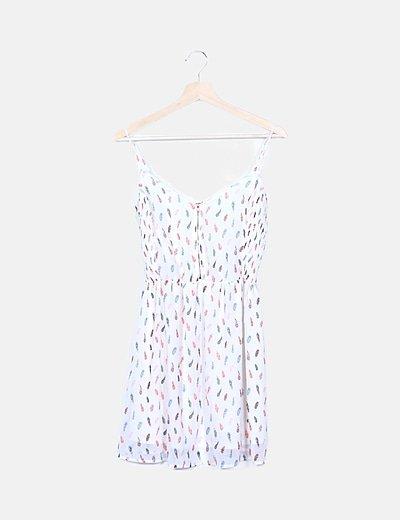 Vestido blanco print plumas