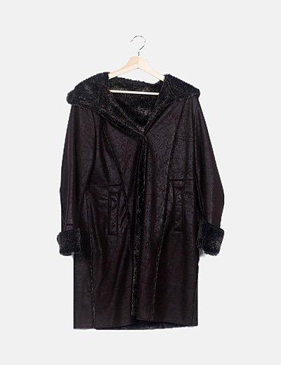 Abrigo largo marrón combinado