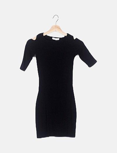 Vestido negro canalé detalle aberturas