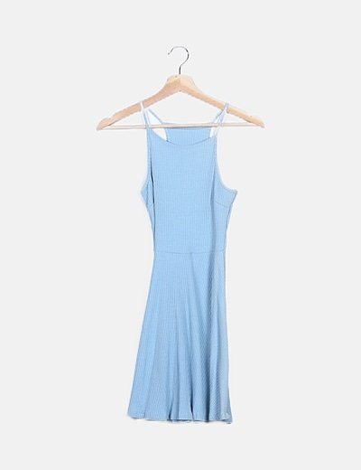 Vestido azul canalé fluido