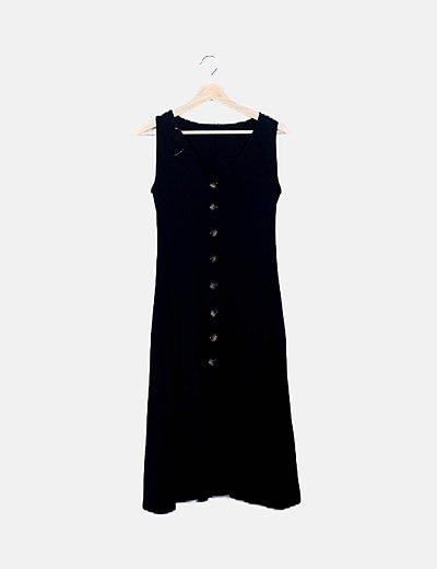 Vestido midi negro canalé