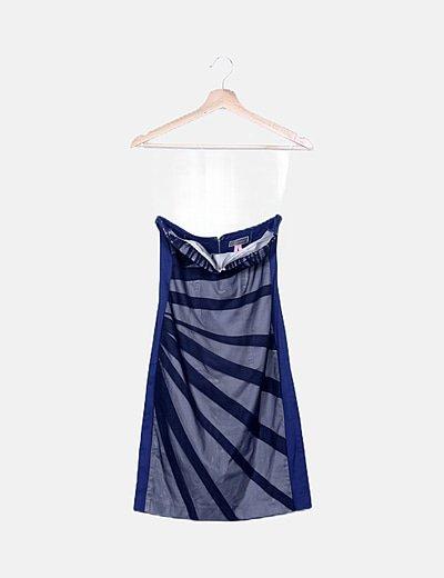 Vestido azul rejilla