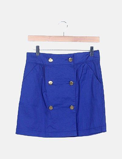 Falda azul doble botonadura