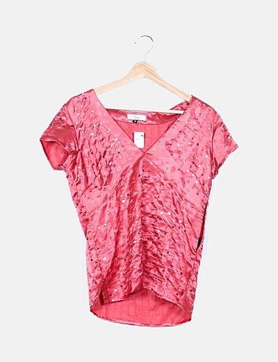 Blusa satén rosa paillettes