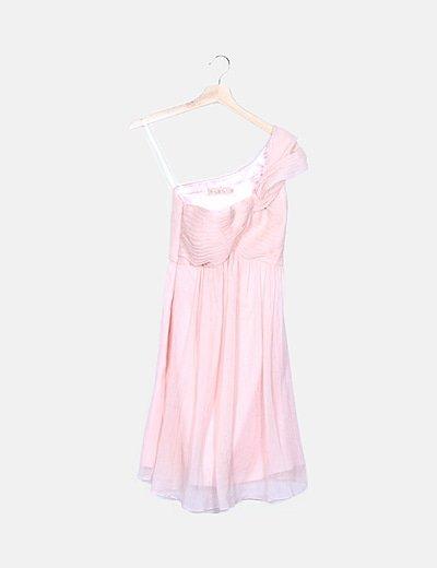 Vestido rosa fruncido de gasa