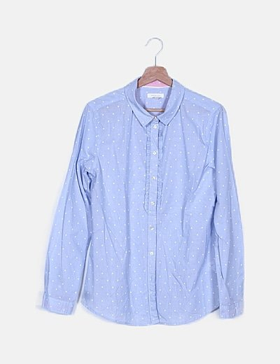 Camisa azul cielo topos