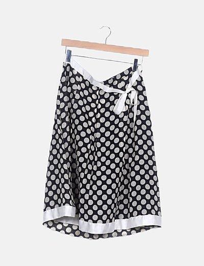 Falda midi bicolor moteada detalle lace up