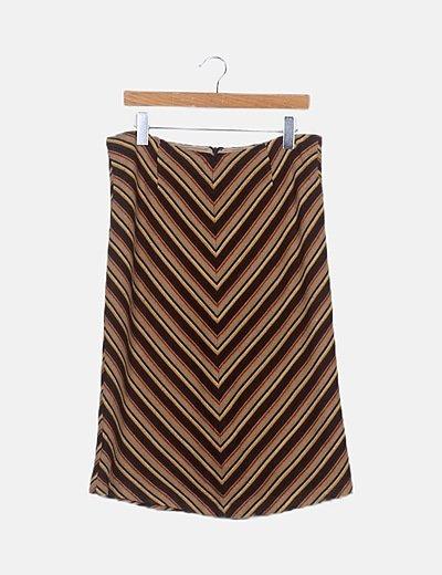 Falda de punto marrón de rayas