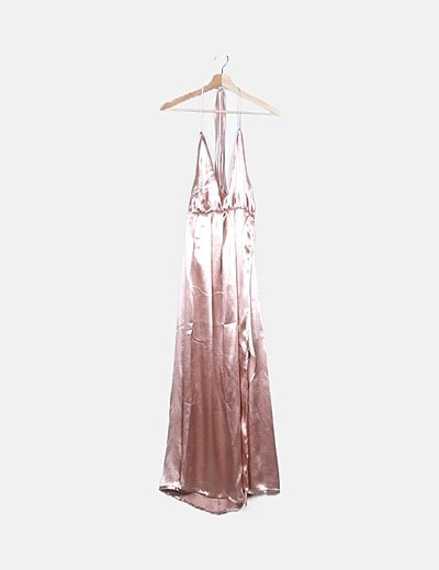 Vestido maxi satén rosa