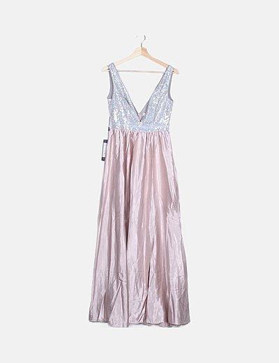 Vestido combinado maxi con abertura