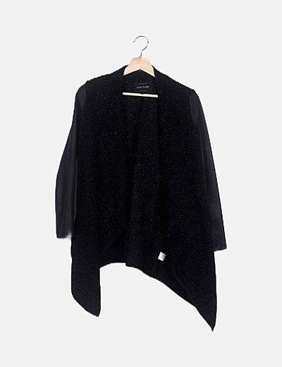 Cardigan tricot negro efecto glitter
