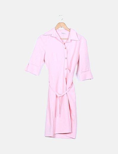Vestido camisero rosa