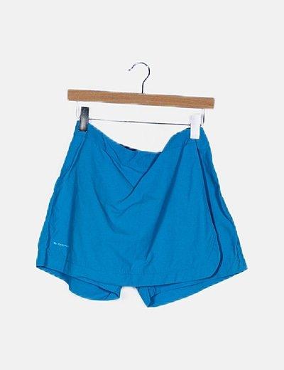 Falda pantalón turquesa satinada