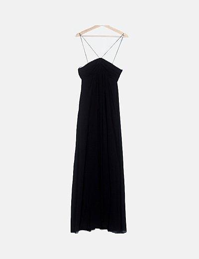 Vestido negro maxi tul