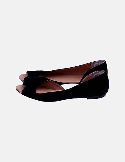 Sandalia negra antelina