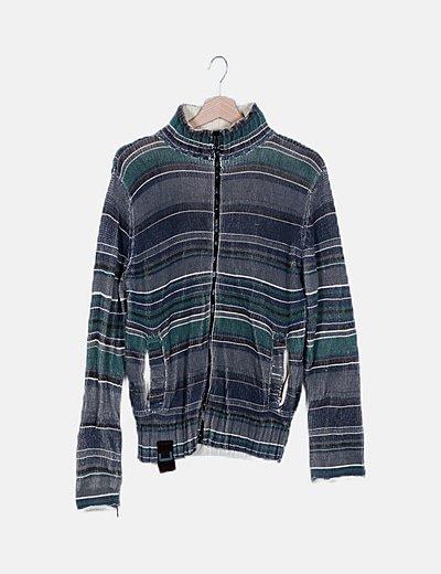 Cardigan tricot verde de rayas