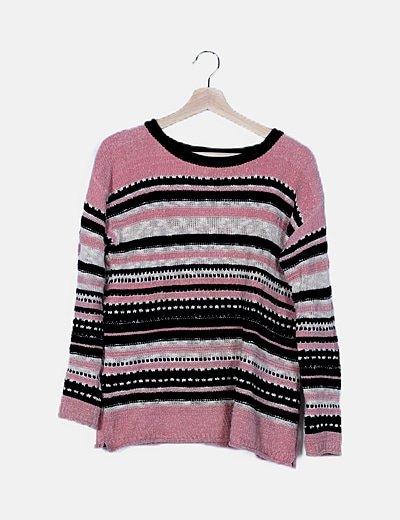 Jersey tricot tricolor de rayas