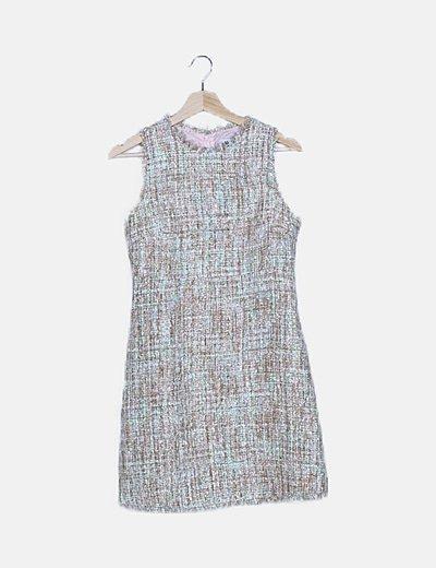 Vestido tweed crema detalles glitter