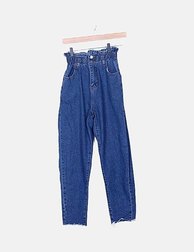 Pantalón denim slouchy desflecado cintura elástica