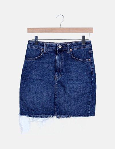 Falda midi azul denim desflecada