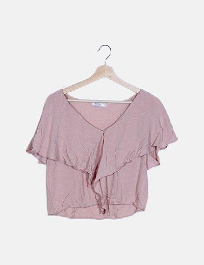 Blusa crop rosa manga corta